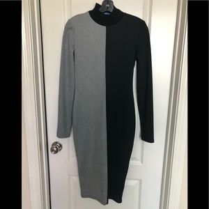 Zara black and gray bodycon dress Sz.S new